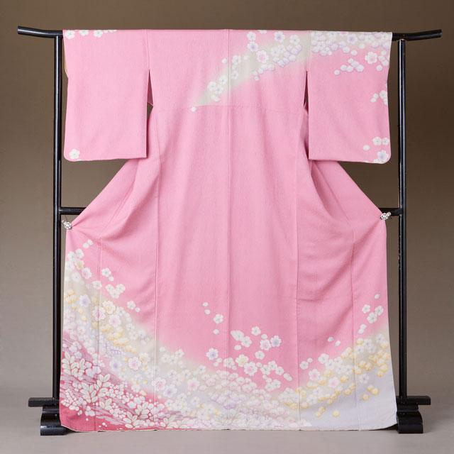 訪問着 レンタル 着物 訪問着 hs28 ピンクラメ桜とぼかし花々 Lサイズ 結婚式 貸衣裳 貸衣装 和服 往復送料無料 【レンタル】