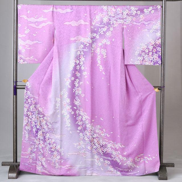 訪問着 レンタル 着物 訪問着 hs33 紫地に紫の花 Lサイズ 結婚式 貸衣裳 貸衣装 和服 往復送料無料 【レンタル】