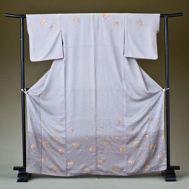 訪問着 レンタル 着物 訪問着 hk01 グレーに小花 Mサイズ 結婚式 貸衣裳 貸衣装 和服 往復送料無料 【レンタル】