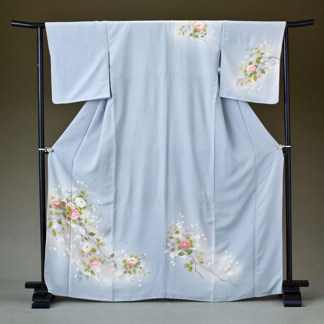 訪問着 レンタル 着物 訪問着 hk12 グレー地にピンクの椿風の花 Lサイズ 結婚式 貸衣裳 貸衣装 和服 往復送料無料 【レンタル】