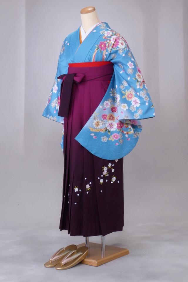 卒業式 袴 レンタル 12点セット 送料無料 gr128 水色にピンクの花 Lサイズ