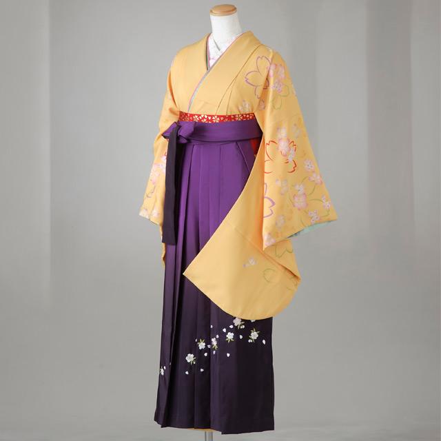 卒業式 袴 レンタル 12点セット 送料無料 gr100 黄色 袖・肩に桜模様 Lサイズ