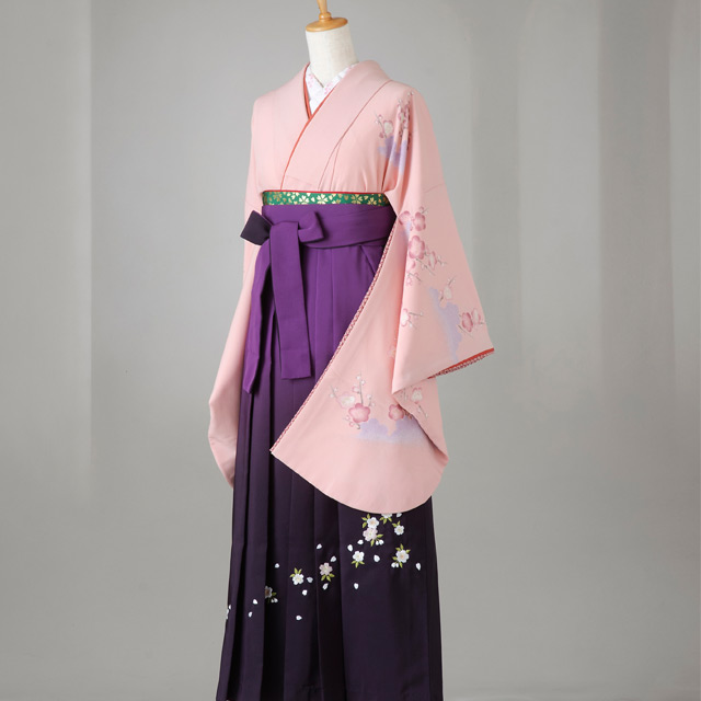 卒業式 袴 レンタル 12点セット 送料無料 落ち着いたピンク 梅柄 Lサイズ