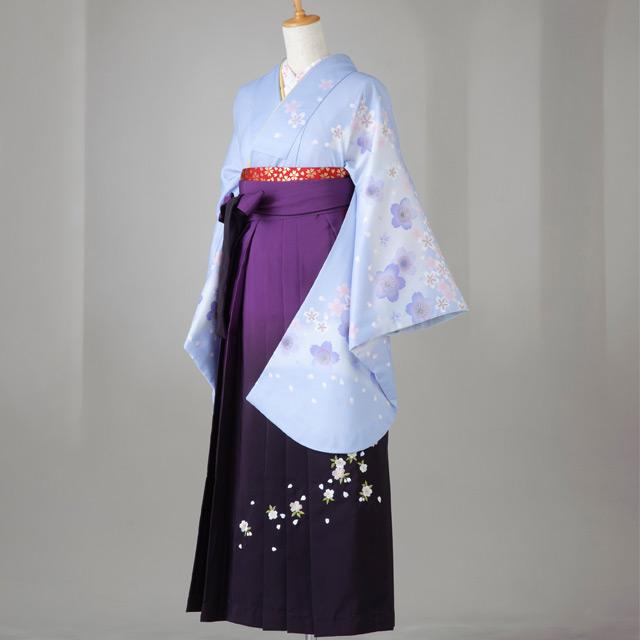 卒業式 袴 レンタル 12点セット 送料無料 gr103 水色 桜柄 Lサイズ