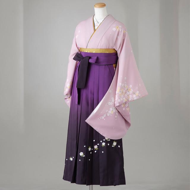 卒業式 袴 レンタル 12点セット 送料無料 gr108 薄紫 小さいしだれ桜 Lサイズ