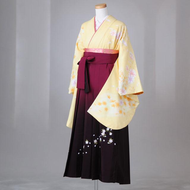 卒業式 袴 レンタル 12点セット 送料無料 gr110 黄色にオレンジの小菊柄 Lサイズ