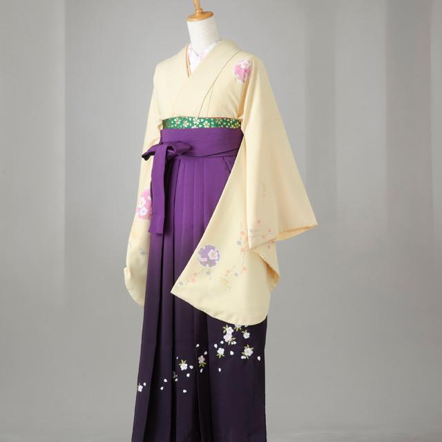 卒業式 袴 レンタル 12点セット 送料無料 薄黄色にピンク・紫桜柄 Lサイズ