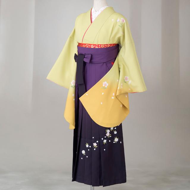 卒業式 袴 レンタル 12点セット 送料無料 gr112 ライム色に袖ピンク 花柄 Lサイズ