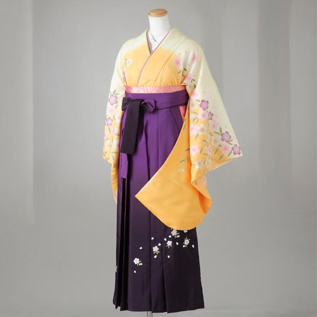 卒業式 袴 レンタル 12点セット 送料無料 gr113 山吹色×レモン色ぼかし 桜柄 Mサイズ