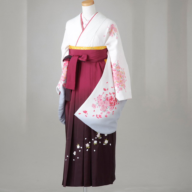 【レンタル】卒業袴12点セット 白地裾グレー 桜柄 Lサイズ