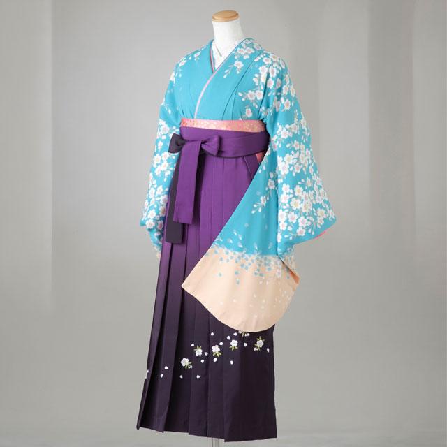 卒業式 袴 レンタル 12点セット 送料無料 gr116 水色 袖ベージュ 桜柄 Lサイズ