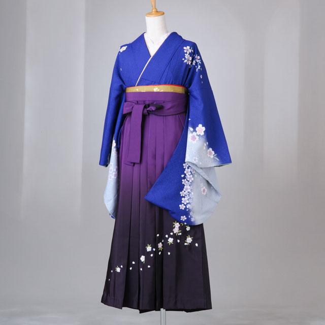卒業式 袴 レンタル 12点セット 送料無料 青地 袖水色 桜と梅