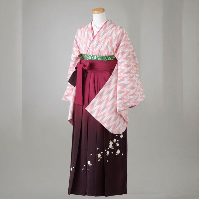 卒業式 袴 レンタル 12点セット 送料無料 gr119 ピンク矢がすり Lサイズ