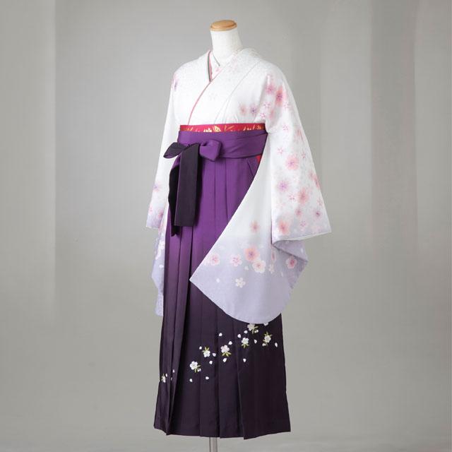 卒業式 袴 レンタル 12点セット 送料無料 gr120 白地 袖薄紫ぼかし 桜柄 Lサイズ