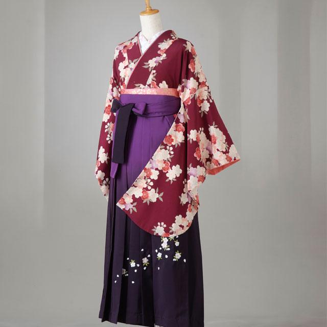 卒業式 袴 レンタル 12点セット 送料無料 gr124 ワイン色桜柄 Lサイズ