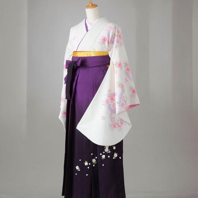 卒業式 袴 レンタル 12点セット 送料無料 生成にピンクの八重桜 LLサイズ