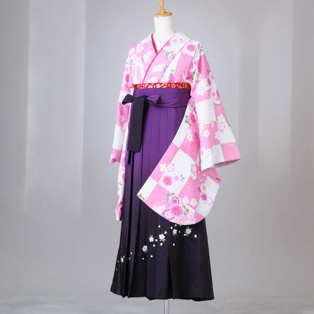 卒業式 袴 レンタル 12点セット 送料無料 白×ピンク市松模様に花々 Lサイズ
