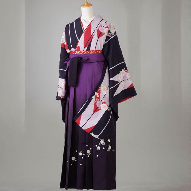 卒業式 袴 レンタル 12点セット 送料無料 gr129 黒地に薄紫と赤の矢がすり・花柄 LLサイズ