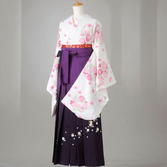 卒業式 袴 レンタル 12点セット 送料無料 gr131 生成地にピンクの菊 Lサイズ