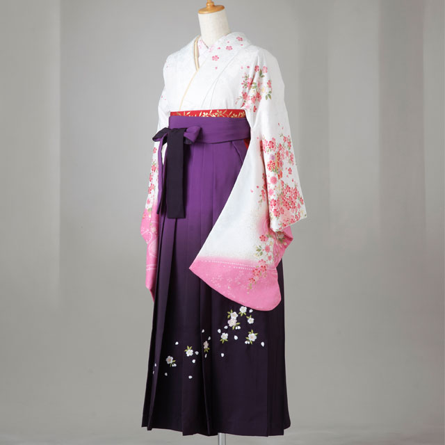 【レンタル】卒業袴12点セット gr132 白地に桜小花柄 Lサイズ