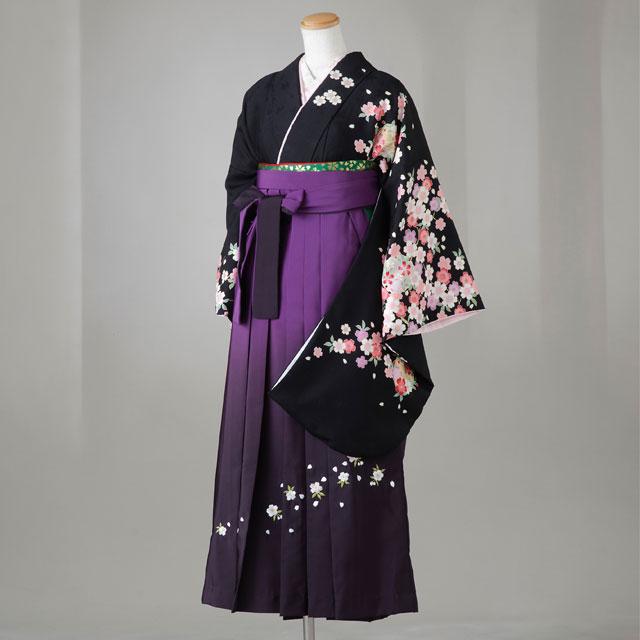 卒業式 袴 レンタル 12点セット 送料無料 gr135 黒に桜 Mサイズ
