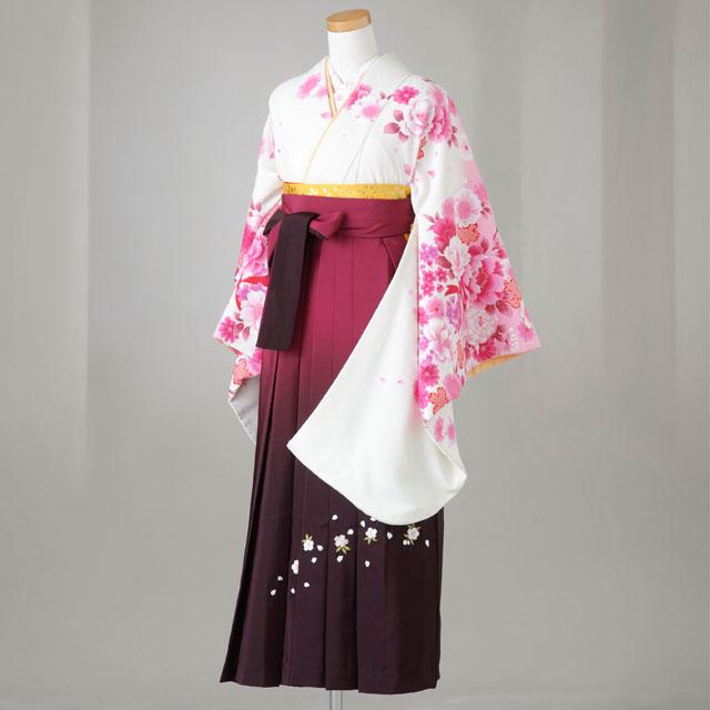 卒業式 袴 レンタル 12点セット 送料無料 gr139 生成にピンクの桜・牡丹 Lサイズ