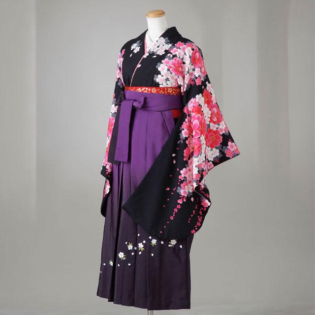 卒業式 袴 レンタル 12点セット 送料無料 gr141 黒地に白・ピンク桜 Lサイズ
