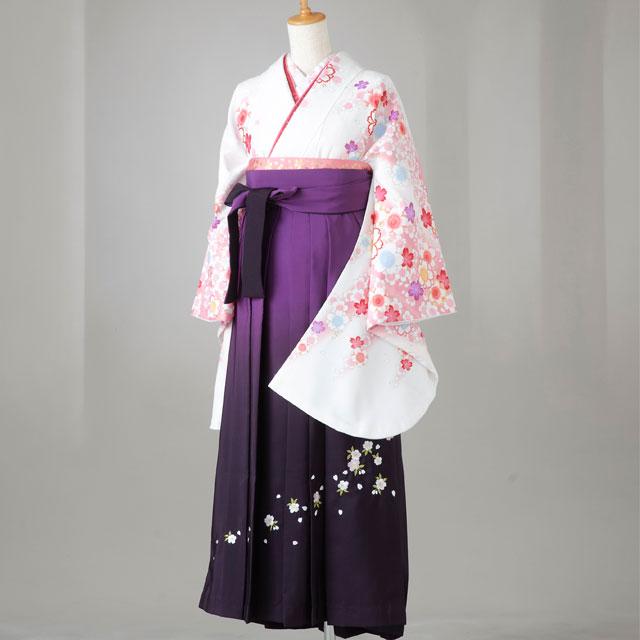 【レンタル】卒業袴12点セット gr142 白地にピンク・紫の桜柄 Lサイズ