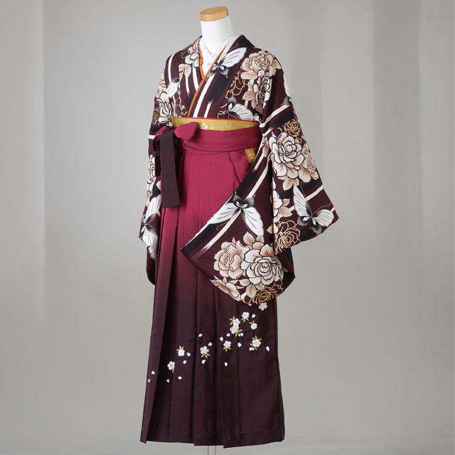 卒業式 袴 レンタル 12点セット 送料無料 gr143 紫に牡丹と蝶 Lサイズ