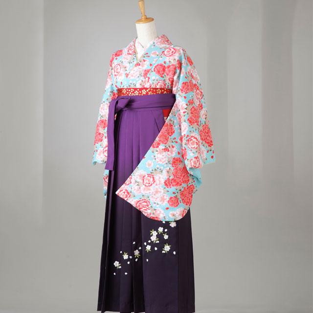 卒業式 袴 レンタル 12点セット 送料無料 gr145 水色に全体花々 Lサイズ
