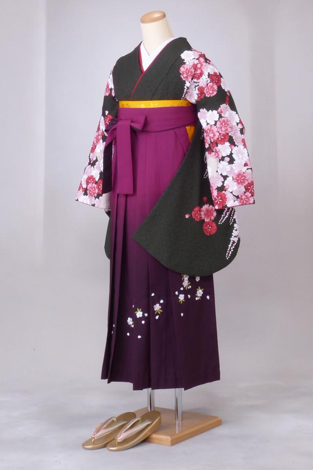 【レンタル】ニコル 卒業袴12点セット gr147 濃いグリーン地赤ピンクしだれ桜 Lサイズ