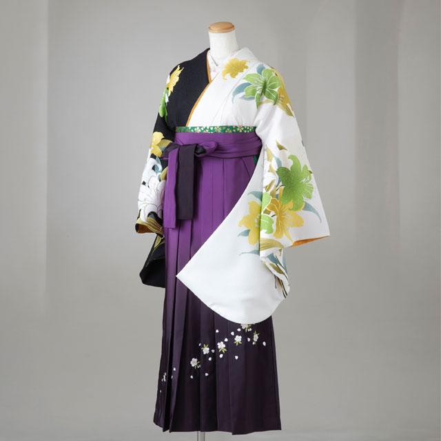 【レンタル】Lako Kula 卒業袴12点セット gr150 白×黒 ユリ模様 Lサイズ
