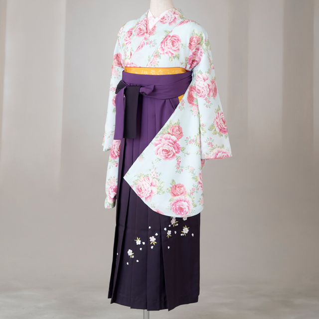 【レンタル】LIS LISA 卒業袴12点セット gr151 水色にピンクのバラ Lサイズ
