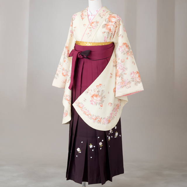 【レンタル】LIS LISA 卒業袴12点セット gr152 クリーム色にピンクのバラ Lサイズ
