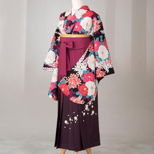 卒業式 袴 レンタル 12点セット 送料無料 gr153 黒地に椿・桜・藤の花柄 Lサイズ