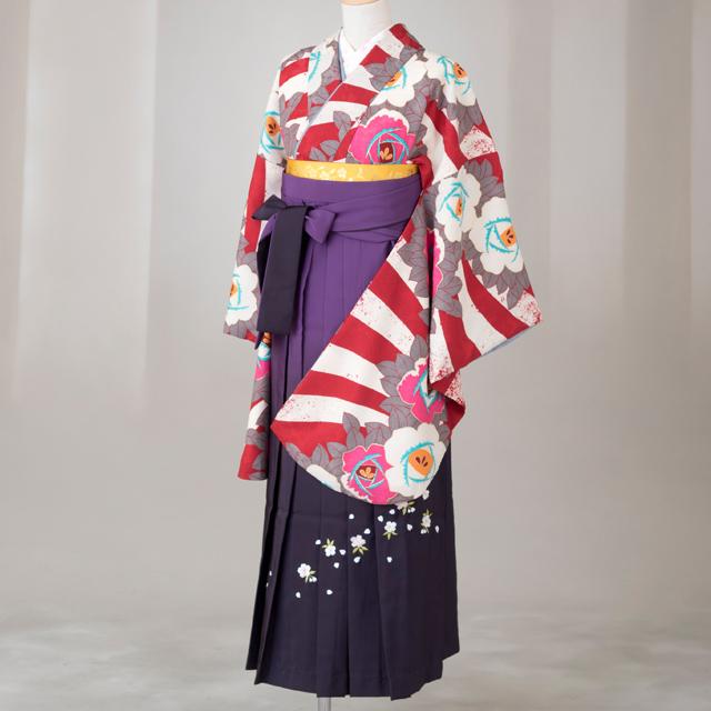 【レンタル】卒業袴12点セット gr154 赤白横しまに手書き風椿柄 Lサイズ