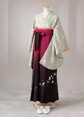 卒業式 袴 レンタル 12点セット 送料無料 gr56 うす抹茶にうすピンクのコスモス Mサイズ
