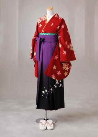 卒業式 袴 レンタル 12点セット 送料無料 gr57 赤地にピンクとベージュの桜 Lサイズ