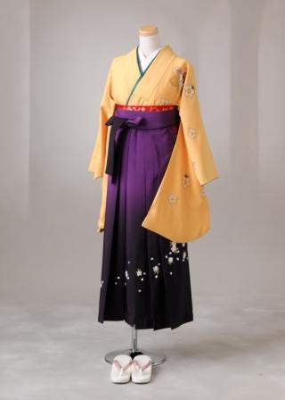 卒業式 袴 レンタル 12点セット 送料無料 gr60 イエロー花刺繍 Lサイズ