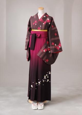 卒業式 袴 レンタル 12点セット 送料無料 gr71 茶色地にピンクの花 Mサイズ