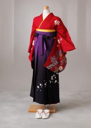 卒業式 袴 レンタル 12点セット 送料無料 gr76 赤地 桜柄 Lサイズ
