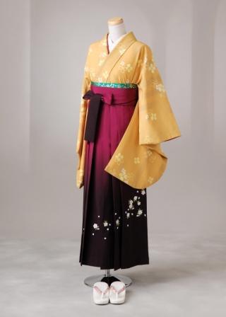 卒業式 袴 レンタル 12点セット 送料無料 gr80 からし色に黄色の小花柄 Lサイズ