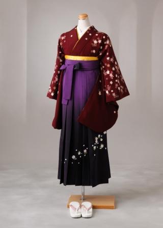 卒業式 袴 レンタル 12点セット 送料無料 あずき色胸元桜散らし Lサイズ