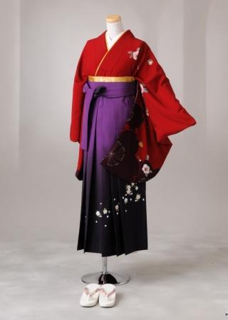 卒業式 袴 レンタル 12点セット 送料無料 gr87赤地袖大桜模様 LLサイズ