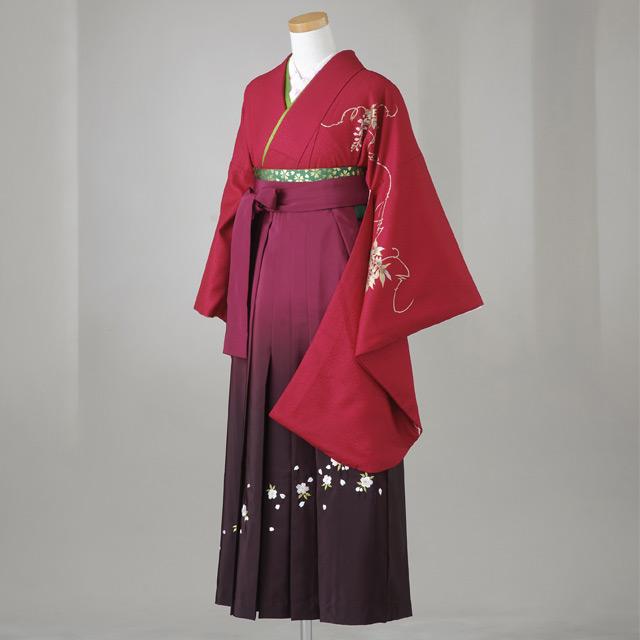 卒業式 袴 レンタル 12点セット 送料無料 gr021 ワイン色に藤の花 Mサイズ