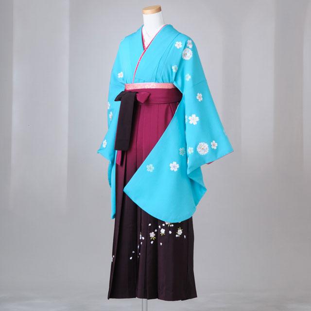 卒業式 袴 レンタル 12点セット 送料無料 gr093 水色さくら刺繍 Lサイズ
