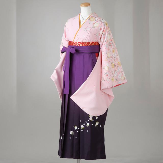 袴 レンタル 卒業式 全て揃った12点フルセット 新作 gr95 うすいピンク桜もよう はかま ハカマ 往復 送料無料【レンタル】