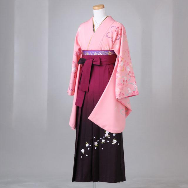 卒業式 袴 レンタル 12点セット 送料無料 gr098 ピンク 肩・袖に桜柄 Lサイズ