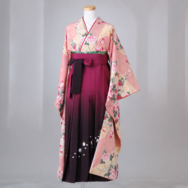 卒業式 袴 レンタル 12点セット 送料無料 gfk070 レトロ調ピンク×ベージュ 麻の葉模様