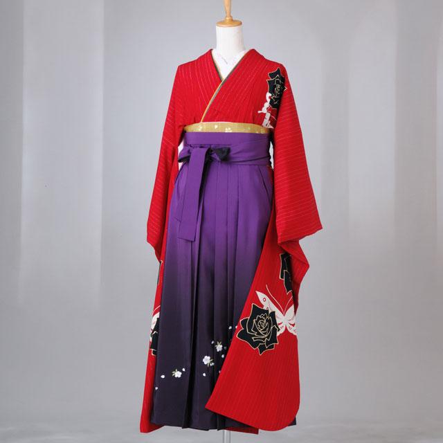 卒業式 袴 レンタル 12点セット 送料無料 gfk072 赤ストライプ バラと蝶